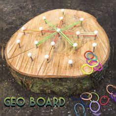 Geo board and loom bands
