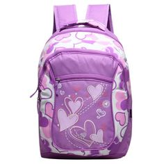 Girl's Fashion Design Heart Print Durable Multifunctional Large-Capacity School Backpack 5 Colors