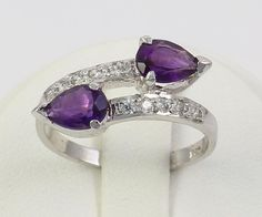 superb amethyst & zircon Gemstones 925 sterling silver Ring size 7 fine jewelry #Handmade #Ring