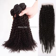 Wholesale Free Part Lace Closure And 3 Bundles Hair Weaves For Black Women #1b 6A Brazilian Virgin Remy Hair Weaves Kinky Curly www.hotqueenhair.com