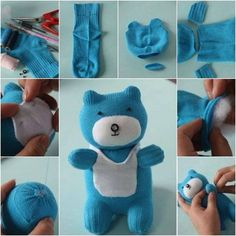 How to DIY Adorable Sock Teddy Bear - Adorable!Don't throw out those old socks! Turn them into Sock Animals like this adorable Sock Teddy Bear.Sock Bear (filled with lavender & rice) would make a wonderful Bedtime Simply Adorable Old Sock Diy Sock Toys, Sock Crafts, Crochet Baby Socks, Crochet Toys, Sock Animals, Crochet Animals, How To Make Socks, Sock Bunny, Sock Dolls