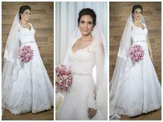 Noiva | Bride | Vestido | Dress | Vestido de noiva | Wedding dress | Bride's dress | Inesquecivel Casamento | Renda | Rendado | Vestido rendado | Véu | Véu de noiva | Grinalda | White dress | Vestido bordado | Bordado | Decote | Vestido de manga comprida