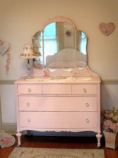 "Pretty Pink Antique Dresser with Tiara Mirror - This can be achieved using Chalk Paint® by Annie Sloan in ""Antoinette""."