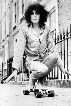 Marc Bolan on wheels Taken by the photographer Bill Orchard just before Marc was killed in a tragic car crash