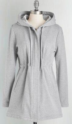 hooded light grey jacket