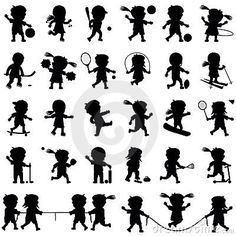 Illustration about Collection of cartoon kids silhouettes playing different sports, isolated on white background. Illustration of boys, funny, clipart - 12494422 Kids Silhouette, Pe Ideas, Sport Icon, Boss Baby, Human Development, Healthy People 2020, Kids Sports, Kids Nutrition, Free Illustrations