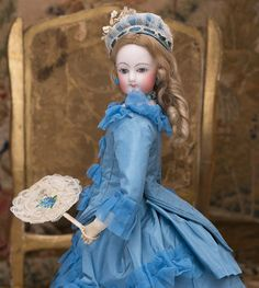 "14"" Antique French French Fashion Bisque Doll in Blue Silk Costume with Fan 