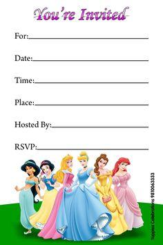 disney princess birthday party invitations free printables
