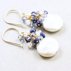 Coin Pearl Dangle Earrings Sapphire Pearl Earrings by NansGlam