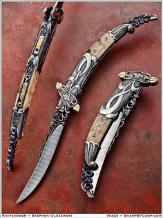 Photos - SharpByCoop's Gallery of Handmade Knives Swords And Daggers, Knives And Swords, Grapes Of Wrath, Cool Swords, Engraved Pocket Knives, Dagger Knife, Knife Art, Best Pocket Knife, Cool Knives