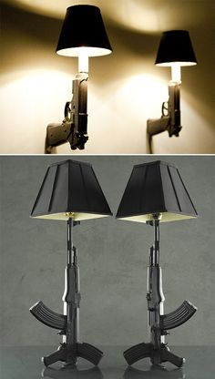 """Gun Lamps  Are you the dad of a teenage daughter? If so, order several of these lamps. One for the entryway, maybe a pair for the living room. Hopefully they'll cause an unsettling, perhaps terrifying effect, on the zit-faced teenage dirtball who's picking up your little angel for a """"movie"""" date. The AK-47 replica ought to cool his jets."""