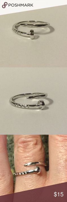 PRICE DROP! 925 SS Punk Nail Ring Size 6 NEW 925 Sterling Silver Punk Goth Nail Open Ring Size 6. NEW. Bundle & Save On Shipping. Silver Luxe Jewelry Rings