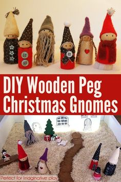 Make a gorgeous set of wooden peg doll gnomes for imaginative play.