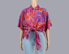 Vintage 90s Watercolor Floral Blouse   Collared Shirt   Oversize Button Down Shirt   Semi Sheer Blouse   Orange Purple Pink   Medium Large