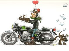Habermann & Sons Classic Motorcycles and more — Love My Guzzi Joe Bar Comics Motorcycle Humor, Motorcycle Art, Bike Art, Classic Motorcycle, Moto Guzzi, Guzzi V7, Bd Cool, Joe Bar, Moto Journal