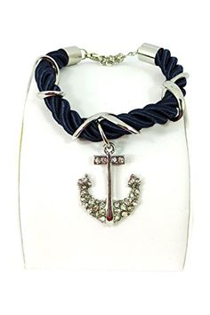 Pinup Nautical Crystal Anchor Charm Navy Rope Bracelet (Navy) Dolls Unlimited Omaha http://www.amazon.com/dp/B00S1VORYU/ref=cm_sw_r_pi_dp_zDFtvb145MJJN