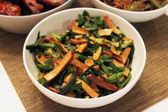 Mark's favorite Tofu Gan: Stir-fry firm tofu with chive spears