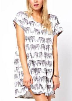Elephant Print Short Sleeve Loose Fit T-Shirt on Vesst.