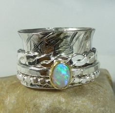 Opal Spinner Ring sterling silver 18 karat gold and by Marajoyce