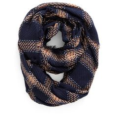 Women's Bp. Plaid Knit Infinity Scarf ($25) via Polyvore featuring accessories, scarves, navy multi, knit circle scarf, circle scarf, navy infinity scarf, tartan scarves and plaid scarves
