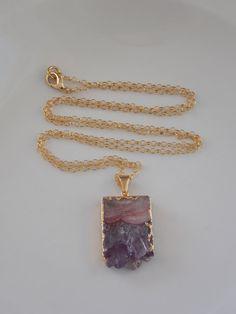 Amethyst Slice Slab Pendant Necklace on Gold by MalieCreations, $37.00