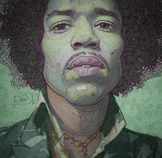 Hendrix illustration detail. High quality art print at @curioos #jimihendrix #hendrix #music #guitar #best #poster #wallart #illustration #art #sketch #vintage #retro #70s #instagood #instagram #like #follow #artprint #green #famous #face #rock #legend #hair #drawing #cool #tribute