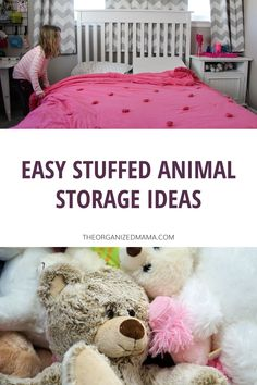 We share simple stuffed animals storage ideas to keep kids bedrooms tidy. Learn how to declutter and organize stuffed animals. Check out the blog for more organizing tips! Kids Bedroom Organization, Playroom Storage, Small Space Organization, Playroom Organization, Organization Hacks, Organizing Stuffed Animals, Stuffed Animal Storage, Doll Storage, Small Playroom