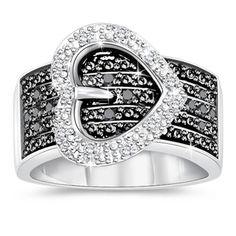 Black & White Diamond Buckle Ring