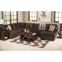 jessa place chocolate 3 pc raf chaise sectional furniture room