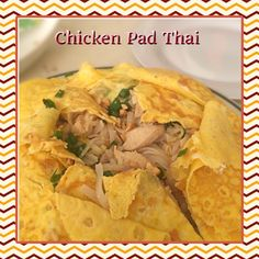 chicken pad thai  ingredients pad thai rice noddles  chicken cubes shrimp  spring onion  garlic sesame oil cashew nuts eggs  for the sauce: tamarind powder brown sugar lemon fish sauce or small amount of soy sauce