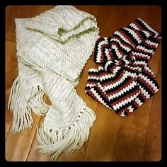 Scarves Two scarves. One heather gray and white and the other is white mob and black. Only the white scarf is Aeropostale. Aeropostale Accessories Scarves & Wraps