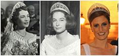 ~ CROWN PRINCESS CECILIE'S PRUSSIAN MEANDER TIARA ~   The tiara is still with the Hohenzollern family and is still worn by the couple's descendants.   Grand Duchess Kira of Russia when she married Cecilie and Wilhelm's son Prince Louis Ferdinand in 1938. Worn by their daughters: Marie-Cécile in 1965 when she married Friedrich August of Oldenburg and Xenia in 1973 when she married Per-Edvard Lithander.  Sophie of Isenburg at her marriage to Georg Friedrich, grandson of Kira and Louis…