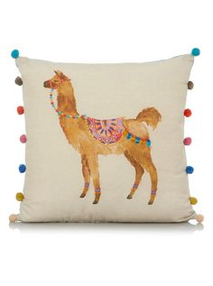 George Home Llama Print Pompom Cushion 43x43cm | Cushions | George at ASDA