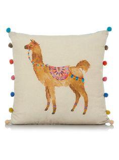 George Home Llama Print Pompom Cushion 43x43cm | Cushions | George at ASDA