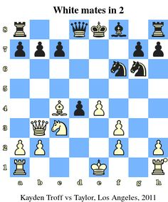 White mates in 2. Kayden Troff vs Timothy Taylor, Los Angeles, 2011 www.chess-and-strategy.com #echecs #chess #jeu #strategie