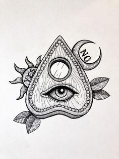 Inktober 2019 Day 22 – Ghost – Vanessa Viegas Art - Ouija Planchette Tattoo - All Seeing Eye Tattoo Tattoo Sketches, Tattoo Drawings, Drawing Sketches, Art Drawings, Ghost Tattoo, Witch Tattoo, Gotik Tattoo, Ouija Tattoo, Spooky Tattoos