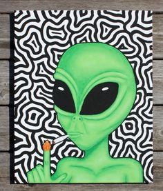 Got a Light  Original Hand Painted Alien Art by TrippedOutArt, $80.00