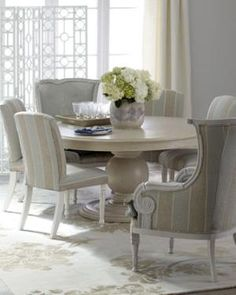 """Key City Furniture - \""""Prudence\"""" Dining Table & \""""Kinsler\"""" & \""""Bethany\"""" Chairs - Horchow"""