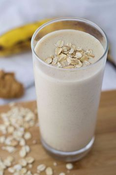 A smooth and creamy peanut butter banana breakfast smoothie is a great way to start the day. It'll fill you up, and it's a great meal on the go!