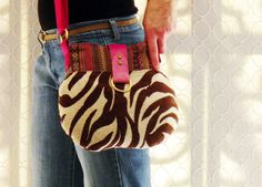 Luxe Boho Tribal Zebra Crossbody Bag with Funky Native Modern Southwest Inspired Fabric, Leather Trim, Adjustable Strap, and Metal Hardware on Etsy, $110.00