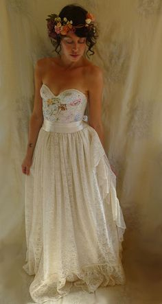 RESERVED Meadow Bustier Wedding Gown... dress boho whimsical woodland country vintage inspired embroidery free people lace boho eco friendly