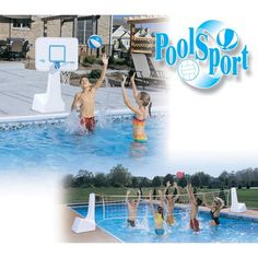 """Incredible combination game can be used for pool side basketball or full court volleyball. Comes complete with 2 heavy duty polyethylene water filled stands, and 1 backboard.All stainless steel hardware. Basketball game features a color matched ball, steel rim (36"""" height) and a 22"""" x 31"""" solid poly backboard that overhangs the water. Volleyball set includes 16' net (spans up to 22' pool) and hot pink volleyball. Find all of your pool and spa needs at www.discountpoolsupply.com"""