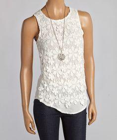 Look at this #zulilyfind! White Daisy Crochet-Overlay Tank & Necklace - Women by Passarella #zulilyfinds