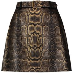 Roberto Cavalli Printed faux leather and fleece wool-blend mini skirt (€270) found on Polyvore featuring women's fashion, skirts, mini skirts, gold, vegan leather mini skirt, mini skirt, short mini skirts, fake leather skirt and brown skirt