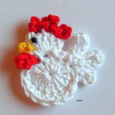 klein Hahn 4.5cm gehäkelt Häkelblumen Häkelapplikation Aufnäher Deko Applikation in   eBay!