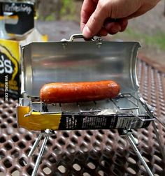 Get your drunken Macgyver on whenever the graving calls for abbq hotdog.Grant Thompson -