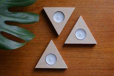 Triangular Plywood Tea Light Holders, Set of Three Modular Candle Holders