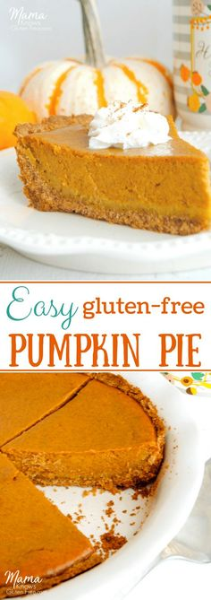 Making a homemade gluten-free pumpkin pie does not get any easier than this! A simple crust made with gluten-free Chex cereal with a sweet and perfectly spiced pumpkin filling. #glutenfreepie #glutenfreethanksgiving #pumpkinpie #glutenfreerecipe #thanksgivingrecpies