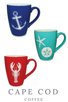 Classic etched Cape Cod Coffee Mugs - Anchor, Starfish & Lobster