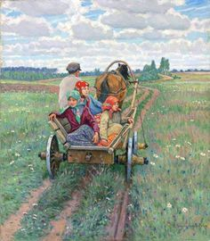 Nikolai Bogdanov-Belsky (Russian 1868–1945) [Realism, Impressionism] Coming after the daily work.